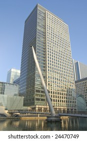Office buildings and footbridge at Canary Wharf in London, England