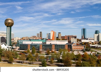 Office buildings and high rise towers fill the skyline of downtown Knoxville, Tennessee.