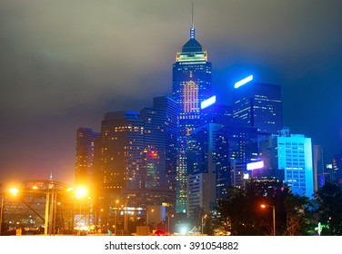Office buildings in Hong Kong Downtown at night