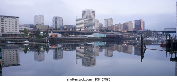 Office Buildings line Thea Foss Waterway downtown Tacoma Washington Waterfront
