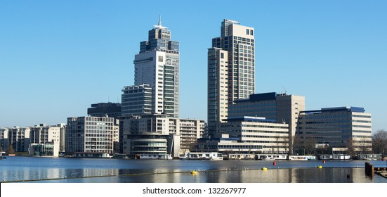 Office buildings. Panoramic view of the tallest skyscrapers of Amsterdam, Netherlands.