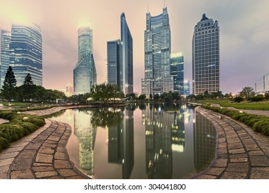 Office buildings and parks in the city
