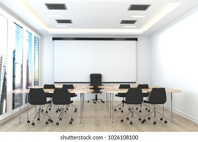 Office business - beautiful boardroom meeting room and conference table, modern style. 3D rendering