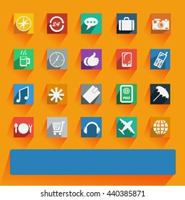 Office and business Flat icons for Web and Mobile Applications. Raster copy