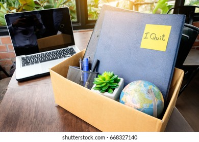 office cardboard box .employee dismissed from office, resignation concept.