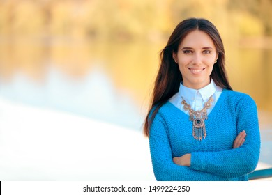 Office Casual Woman Wearing Statement Necklace. Female entrepreneur  promoting advertising sale message
