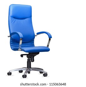 The office chair from bue leather. Isolated