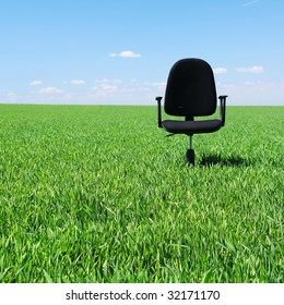 Office chair in field with green grass