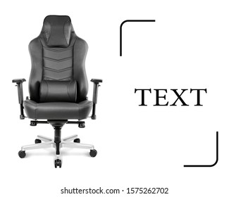 Office Chair Isolated on White Background. Front View of Sofa Set with a Flat Seat and Black Top Grain Leather Upholstery 4d Arm Rests. Modern Armchair with Rock It and Lock It Function Aluminum Base