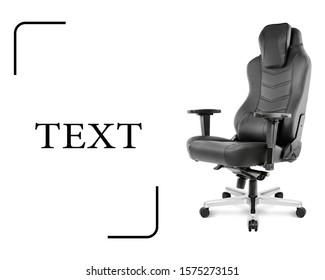 Office Chair Isolated on White Background. Side View of Sofa Set with a Flat Seat and Black Top Grain Leather Upholstery 4d Arm Rests. Modern Armchair with Rock It and Lock It Function Aluminum Base