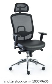 an office chair made of black mesh and leather isolated on a white background