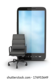 Office chair and smartphone