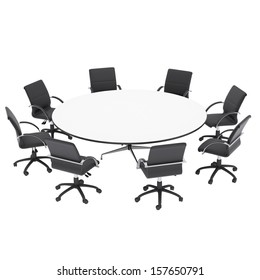 Office chairs and round table. Isolated render on a white background