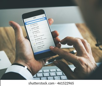 Office Checking Email Mobile Concept