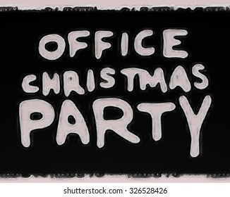 """Office Christmas party"" text announcement sign"