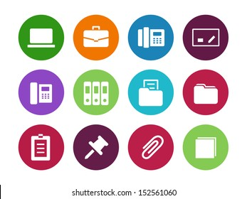 Office circle icons on white background. See also vector version.