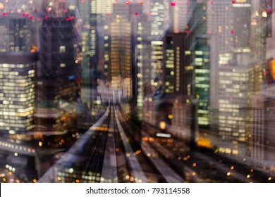Office city light blurred motion double exposure train track, abstract background