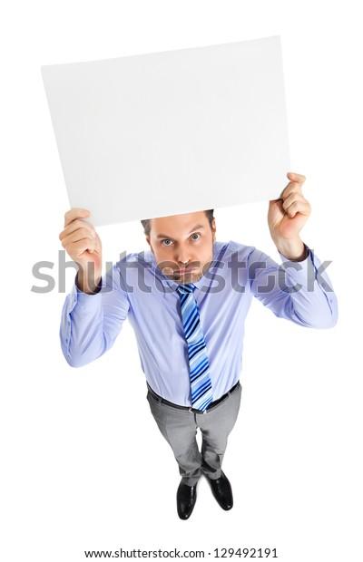 Office clerk on white background