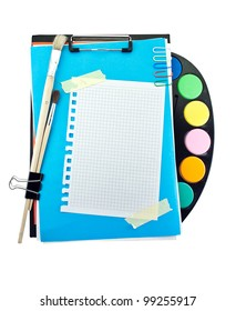 Office clipboard with colorful paint set, clips and brushes .