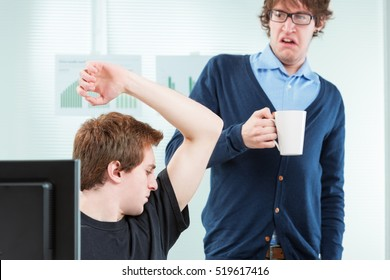 office colleague disgusted by body odour in the workplace