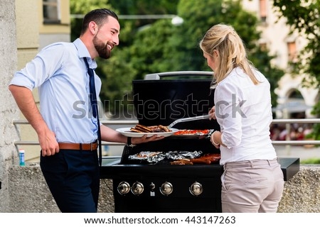 Office Colleagues Grilling Sausages Bbq After Stock Photo Edit Now
