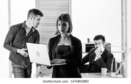 Office collective concept. Sexual attraction. Stimulate sexual desire. Vulnerable to sexual harassment and assault. Woman working in mostly male workplace. Woman attractive lady working with men.