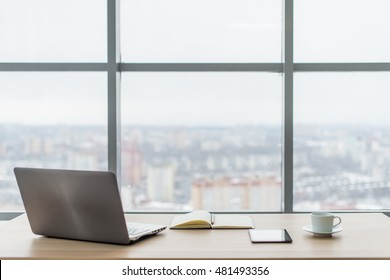 Office. Comfortable work table, workplace with notebook laptop. - Shutterstock ID 481493356