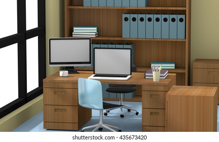 office concept 3D rendering