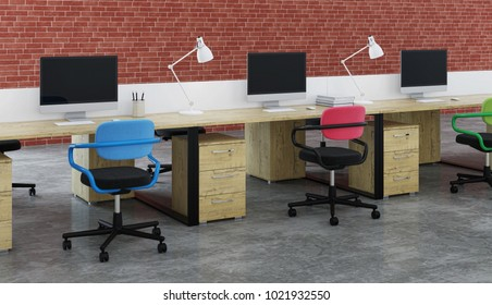Office Design. 3D rendering.