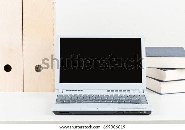 Phenomenal Office Desk Books Folders Laptop Empty Stock Photo Edit Now Interior Design Ideas Clesiryabchikinfo