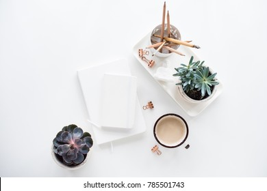 office desk flat lay with coffe, notepads and succulents, clean