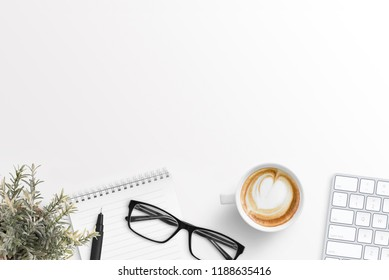 Office desk with free space for text. Business composition. Hero header image.
