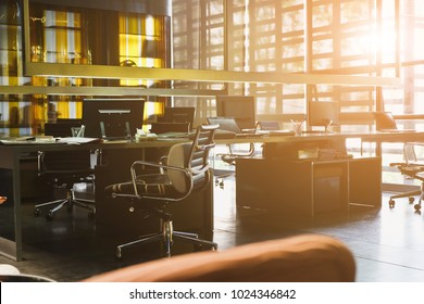 Office desk, image of modern office interior background. An idea of modern workspace and coworking space, modern lifestyle