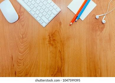 Office desk with keyboard.