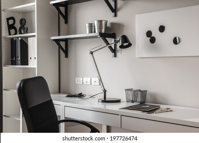 office desk in modern style in black and white tones