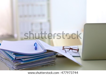 Office Desk Stack Computer Paper Reports Stock Photo (Edit Now ...