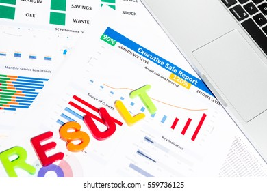 Office desk table with business paper, office stationary, notebook, keyboard.  Top view with copy space. Useful for business, presentation, meeting, work, planning, sale, business plan concepts