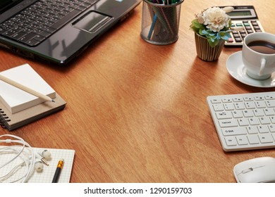 Office desk table of Business workplace and business objects.