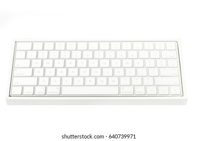 Office desk table with keyboard Isolated on white background