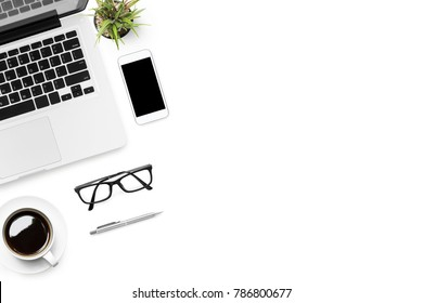 Office desk table with laptop, smart phone, cup of coffee and supplies, isolated on white background. Top view with copy space, flat lay.