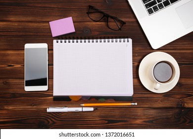 Office desk table with supplies. Flat lay Business workplace and objects. Top view. Copy space for text - Image