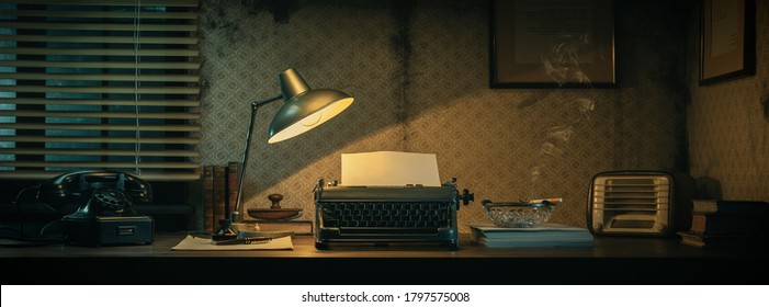 Office desk with vintage typewriter and blank sheet, 1950s film noir style