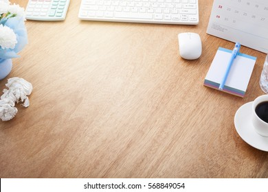 Office desk wood table of Business workplace and business objects