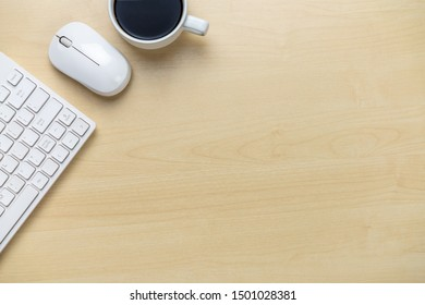 Office desk workspace and table background from top view above flat lay objects. Modern minimal design desktop for creative working. Minimalism concept.