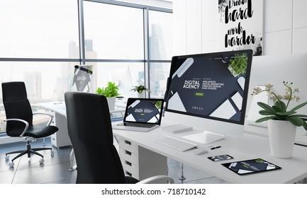 office desktop 3d rendering with digital agency on screen