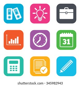 Office, documents and business icons. Accounting, calculator and case signs. Ideas, calendar and statistics symbols. Flat square buttons.