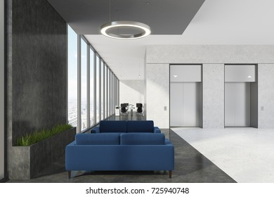 Office elevator hall with a waiting area, dark blue sofas, loft windows and round lamps. An open space room in the background. Close up 3d rendering mock up
