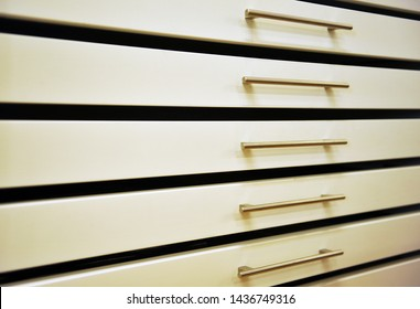 Office furniture for archiving plans. Metal drawer unit