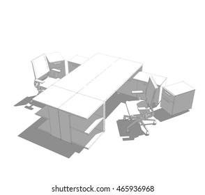 office furniture sketch 3d illustration
