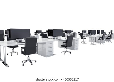 Office furniture in a spacious office